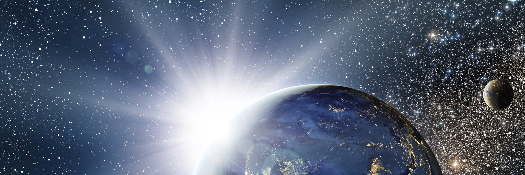 Banner Image - White sun peeking out from earth