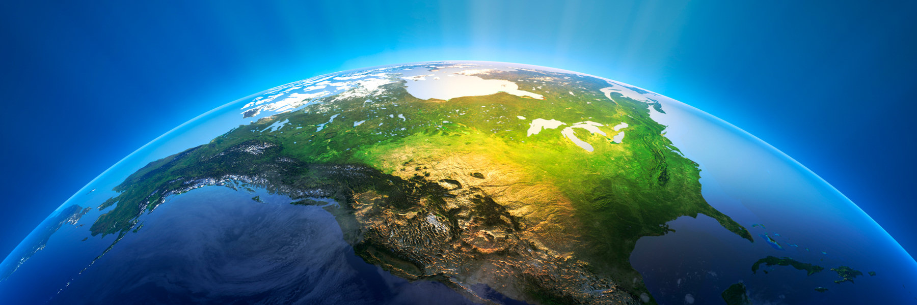 Banner Image - 3D relief of North America from space